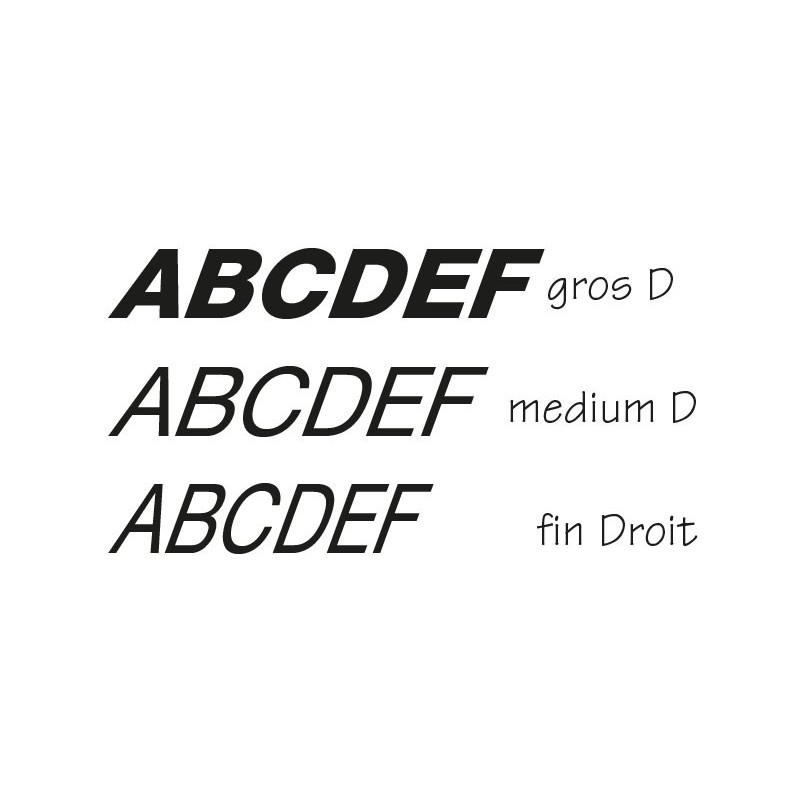 Lettres individuelles italic droites