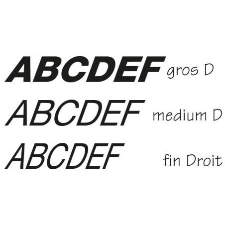 Lettres individuelles italic à droite
