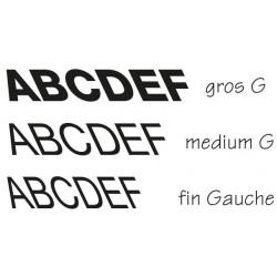 Lettres individuelles italic à gauche