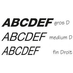 Lettres individuelles italic droites